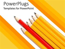Presentation design consisting of red pencil leading row of yellow pencils on white background