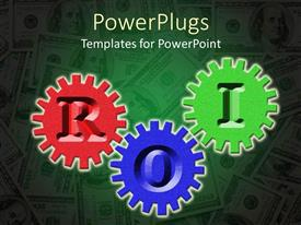 PPT theme having red, purple, and green gears with letters ROI, return on investment