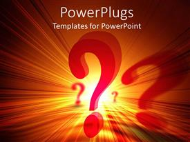 Theme enhanced with red question marks on orange and yellow light background
