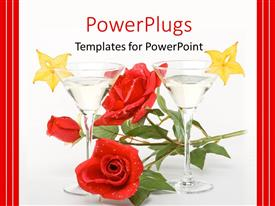 Slides having red rose between two glasses of martini on white background