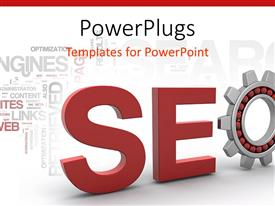 Amazing presentation theme consisting of red SEO sign in 3D in white background with technological words