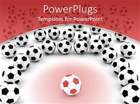 Beautiful slides with red soccer ball with black and white footballs, red border