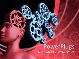 Slide deck consisting of red statue with gears in the head on a red background