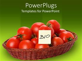 Colorful slides having red tomatoes in wicker basket with bio sticky note