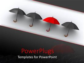 Beautiful presentation theme with red umbrella standing out from black umbrella, different, unique
