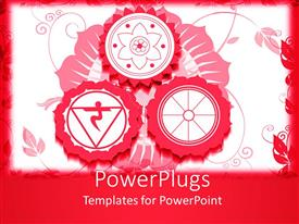Amazing slides consisting of red and white background with three red colored Hindu religious signs