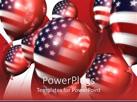 Audience pleasing PPT layouts featuring red white and blue American flag on balloons, patriotic, USA, 4th of July, Independence Day