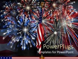 Theme consisting of red, white, and blue fireworks behind American flag