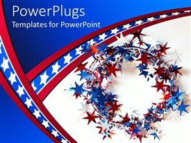 Amazing PPT layouts consisting of red, white, and blue star wreath