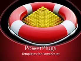 PPT layouts featuring a red and white buoy with a golden pyramid inside