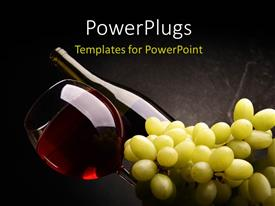 Presentation theme enhanced with red wine in bottle and glass with a bunch of grapes on dark background