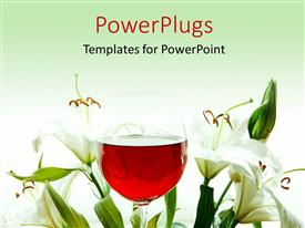 PPT theme having red wine in wine glass with beautiful lily flower around
