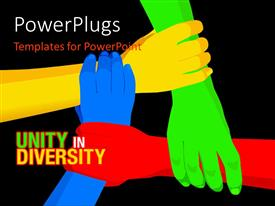 Slide deck consisting of red, yellow, blue, green linked hands on black background