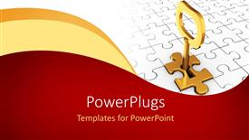 Elegant PPT theme enhanced with red and yellow curves in front and jigsaw puzzle piece with a keyhole