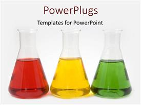 Beautiful presentation design with red, yellow, and green liquids in flasks