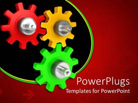 Elegant theme enhanced with red, yellow, green and silver gears on red background