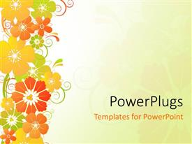 Slide deck enhanced with red, yellow, orange, and green flowers on plain off white background