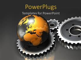 Elegant presentation design enhanced with reflecting earth globe sitting on three connected gears on grey background