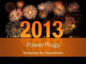 Audience pleasing presentation design featuring reflective 2D year 2013 with fireworks in night sky