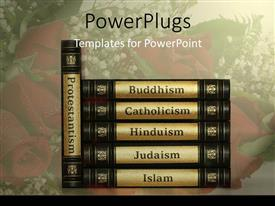 5000 hinduism powerpoint templates w hinduism themed backgrounds slides consisting of religion books with black and golden covers protestantism buddhism catholicism template size toneelgroepblik Images