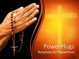 PPT layouts having religious depiction of old woman hands in prayer holding rosary with Jesus on cross, glowing cross in light