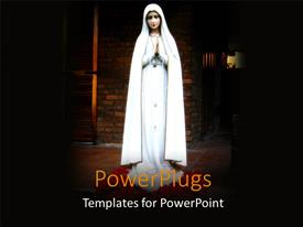 PPT theme featuring religious statue of virgin Mary with spotlight and brick wall