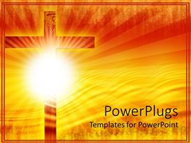 Slide deck enhanced with religious theme with big wooden cross and sun with rays over gradient yellow and orange background