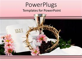 Presentation design featuring religious theme with white cover Holy Bible, silver cup, crown of thorns and pink flowers