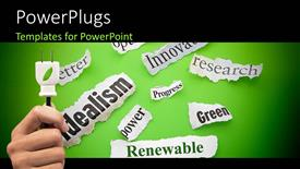 PPT theme having hand holds plug with renewable energy terms on green background