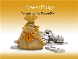 PPT theme enhanced with the representation of a bag of money locked