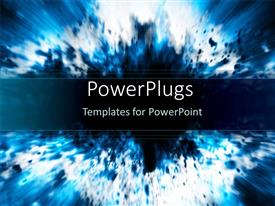 PPT theme enhanced with a representation of a blue explosion with place for text
