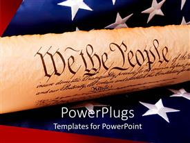 PPT theme with a representation of US constitution with US flag in the background
