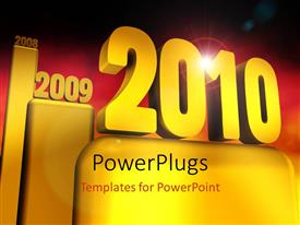 Amazing presentation theme consisting of the representation of the new year with reddish background