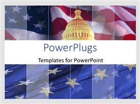 Colorful slide set having the representation of Pentagon with American flag in background