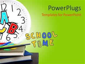 Amazing presentation theme consisting of the representation of school time with greenish background