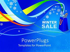 PPT layouts with the representation of winter sale with bluish background