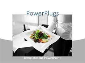 Elegant presentation design enhanced with restaurant depiction of a waitress holding a healthy dish on her hand, with healthy salad on a white plate and wine on a restaurant table on black and white background