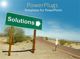 Audience pleasing presentation theme featuring a road in the desert with solution sign pointing towards right
