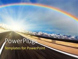 PPT theme enhanced with a rainbow with a lot of clouds in the background