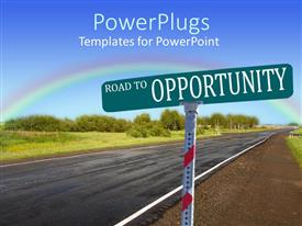 Colorful PPT theme having a road sign indicating road to opportunity