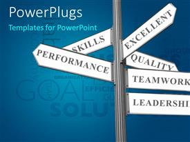 Colorful PPT theme having road sign with successful business ingredients over blue background