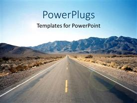 PPT theme having road through Nevada desert with hills in the background