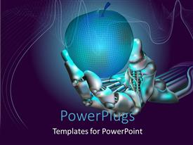5000 robot powerpoint templates w robot themed backgrounds slides having robot hand holds neon apple symbolizing new technologies toneelgroepblik Images
