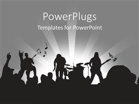 Audience pleasing presentation theme featuring rock band playing on-stage in concert