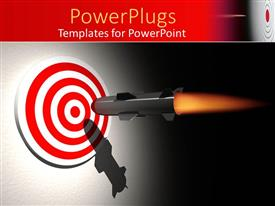 Elegant PPT layouts enhanced with rocket aiming the center of a bullseye target on gradient gray and black background