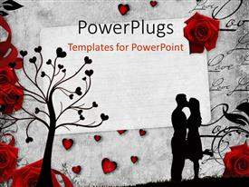Theme with romantic vintage background with red roses and beautiful silhouettes