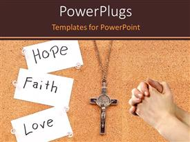 Slides having rosary with paper tags HOPE, FAITH and LOVE and hands clasped