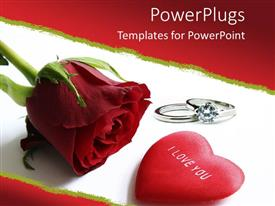 Amazing PPT layouts consisting of a rose with ring as a metaphor of love