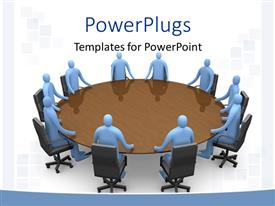 PPT layouts having a round table conference going on in an office with clear background