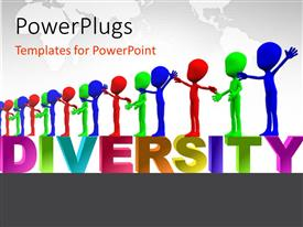 Colorful slide deck having row of colorful figures representing multiculturalism and diversity